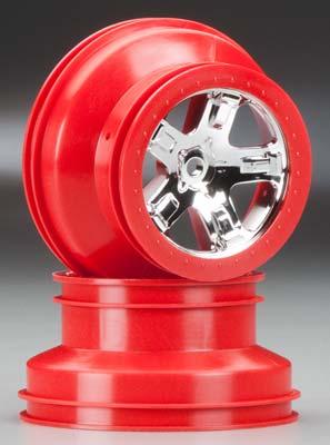 Traxxas Wheels Chrome Red Beadlock Fr/Re (2)