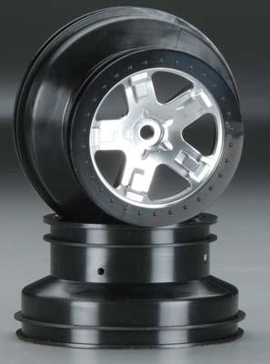 Traxxas Wheels Chrome Black Beadlock Fr/Re (2)