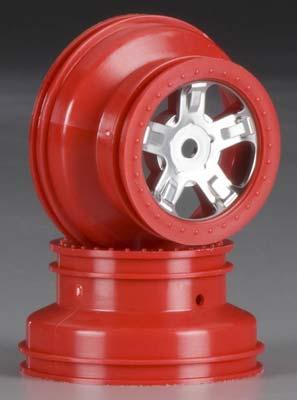 Traxxas SCT Chrome Wheel Red Beadlock 1/16 Slash (2)