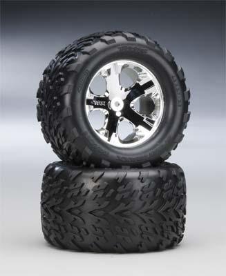 Traxxas Re Chrome Whl w/Talon Tire (2)