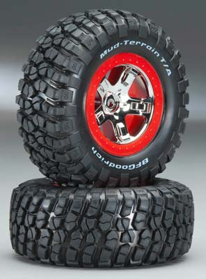 Traxxas Tire/Whl Assembled Red Beadlock Fr/Re (2)