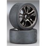Traxxas Tires & Wheels, Assembled, Glued (Split-Spoke, Black) Rr