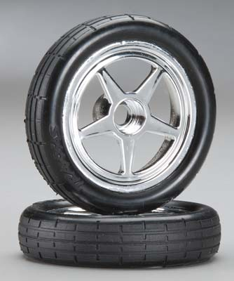Traxxas Tires & Wheels, Assembled, Glued (5-Spke, Chrme,Tires,Fr)