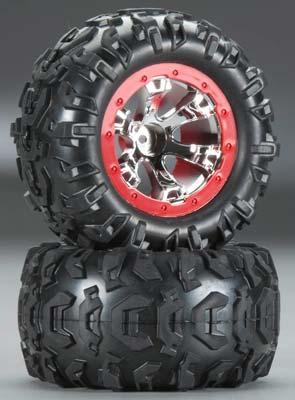 Traxxas Tires / Wheels Assembled Red Beadlock 1/16 Summit