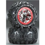 Traxxas Tires / Wheels Assembled Red Beadlock 1/16 Summit