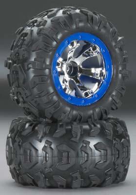 Traxxas Tires / Wheels Assembled Blue Beadlock 1/16 Summit