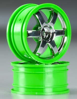 Traxxas Wheels, Volk Racing Te37- Chrome/Green (2)