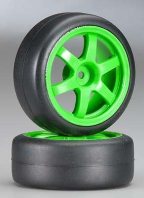 Traxxas Tires & Green Wheels (Slicks) 1.9 Gymkhana)