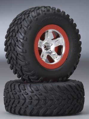 Traxxas SCT Re Tires Mntd Satin Chr/Red Bdloc Slash (2)