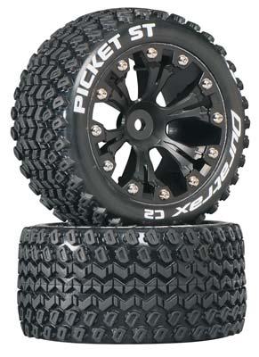 """DuraTrax Picket ST 2.8\"""" Truck 2WD Mntd Rear C2 Blk (2)"""