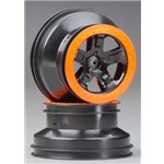 Traxxas Wheels, Sct Black. Orange Bead Lock Style, Dual Profile