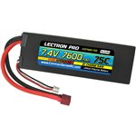 Lectron Pro 7.4V 7600mAh 75C Lipo Battery with Deans