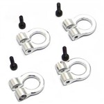 Hot Racing 1/10 Scale Alum Silver Tow Shackle D-Rings (4)