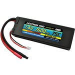 Lectron Pro 7.4V 7600mAh 75C Lipo Battery Bare Leads