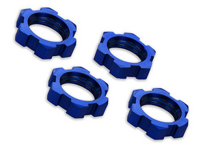 Traxxas Wheel Nuts, Splined, 17Mm, Serrated (Blue-Anodized) (4)