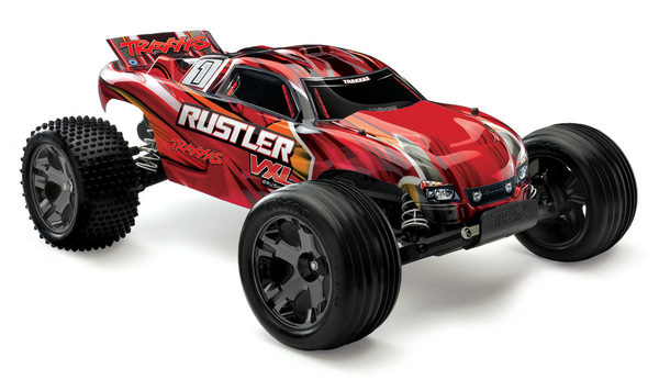 Traxxas Rustler Vxl 1/10 Stadium Truck Rtr Red W/ Id Battery & 4 Amp Pea