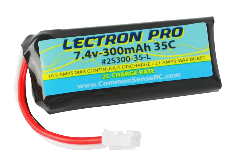 Common Sense RC Lectron Pro 7.4V 300mAh 35C Lipo Battery with UMX Connector for