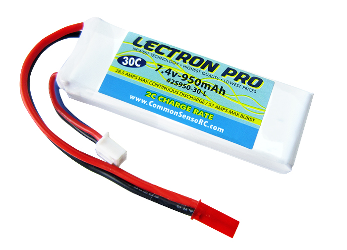 Common Sense RC Lectron Pro 7.4V 950mAh 30C Lipo Battery with JST Connector for