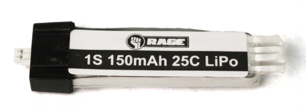 Rage RC 150Mah 1S 3.7V 15C Lipo Battery, Ultra-Micro Connector: Ssl