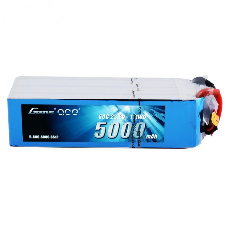 Gens Ace 5000mAh 22.2V 60C 6S1P Lipo Battery Pack with EC5 plug