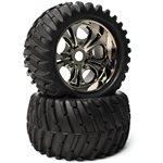 "CEN Racing ""V-Pattern"" Wheels & Tires (Pre-Glued, 1Pr), For Colossus Xt"