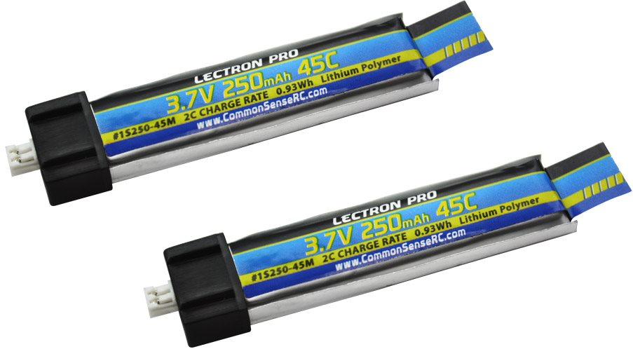 Common Sense RC Lectron Pro 3.7V 250mAh 45C Lipo Battery 2-Pack for Blade Induct