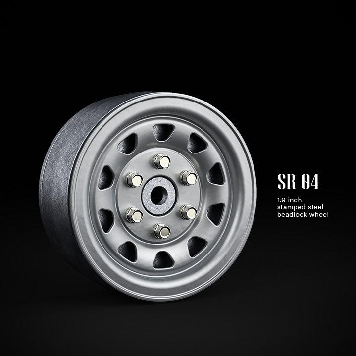 Gmade 1.9 Sr04 Beadlock Wheels (Semigloss Silver) (2)