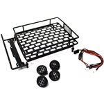 Racers Edge 1/10 Scaler Metal Grid Roof Rack, Round Lights - Black