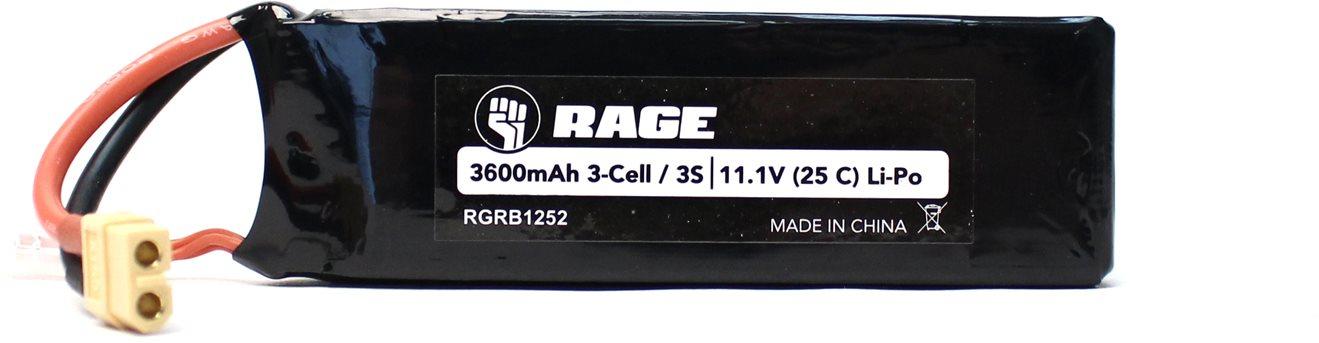 Rage RC 11.1V 3S 25C 3600Mah Li-Po Battery W/ Xt60; Sc700bl Super Cat