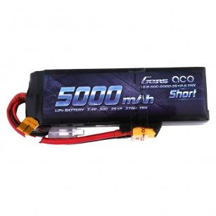 Gens Ace 5000mAh 7.4V 50C 2S1P Short-Size Lipo Battery Pack with XT60 plu