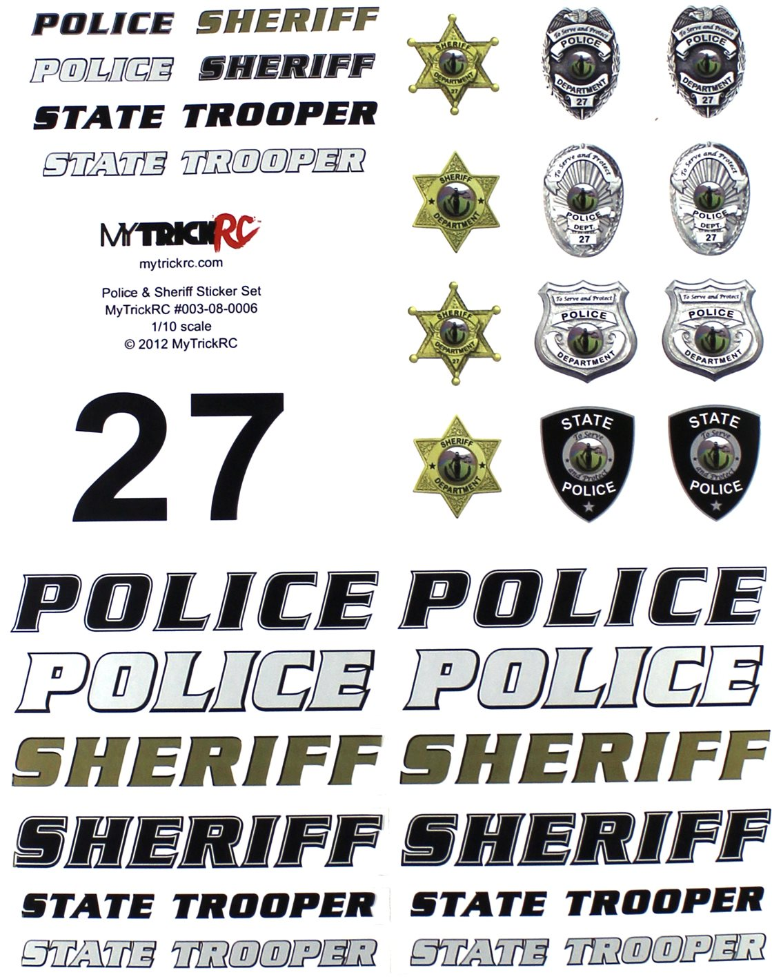 MyTrickRC Realistic 1:10 Scale Decal Set, Police And Sheriff Combo