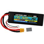 Lectron Pro 7.4V 7600mAh 75C Lipo with XT60 CSRC For Traxxas