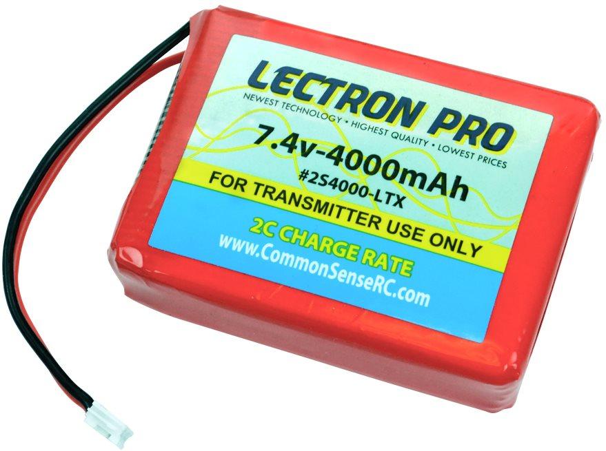 Common Sense RC Lectron Pro 7.4V 4000mAh Lipo TX Battery for the Spektrum DX7S,