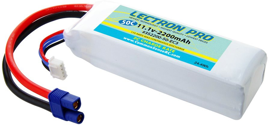 Common Sense RC Lectron Pro 11.1V 2200mAh 50C with EC3 Connector for the Blade 3