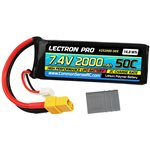 Lectron Pro 7.4V 2000mAh 50C Lipo w/XT60 + CSRC adapter for Trax