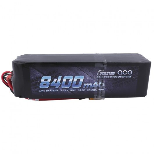 Gens Ace 8400mAh 11.1V 50C 3S2P Lipo Battery Pack with XT60T plug