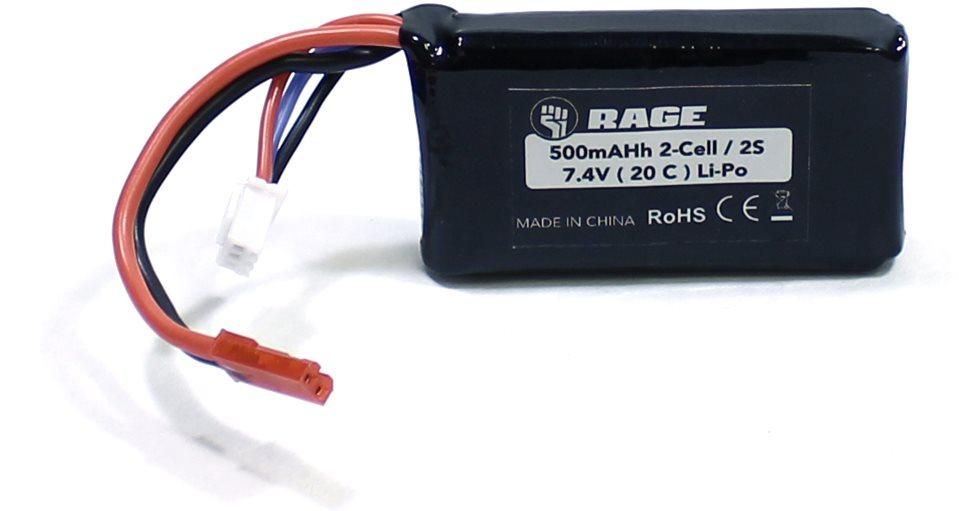 Rage RC 7.4V 2S 500Mah Lipo Battery W/ Jst: Super Cub 750