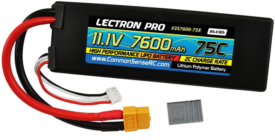 Common Sense RC Lectron Pro 11.1V 7600mAh 75C Lipo Battery with XT60 + Cdata-url=