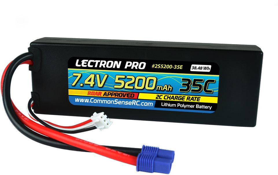 Common Sense RC Lectron Pro 7.4V 5200mAh 35C Lipo Battery with EC3 Connector for