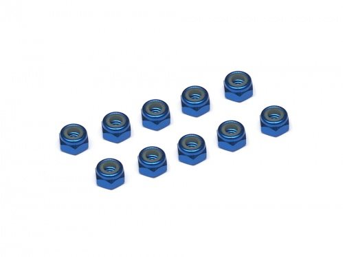 Team Raffee Co. 4MM Aluminum Lock Nuts - 10 pcs Blue