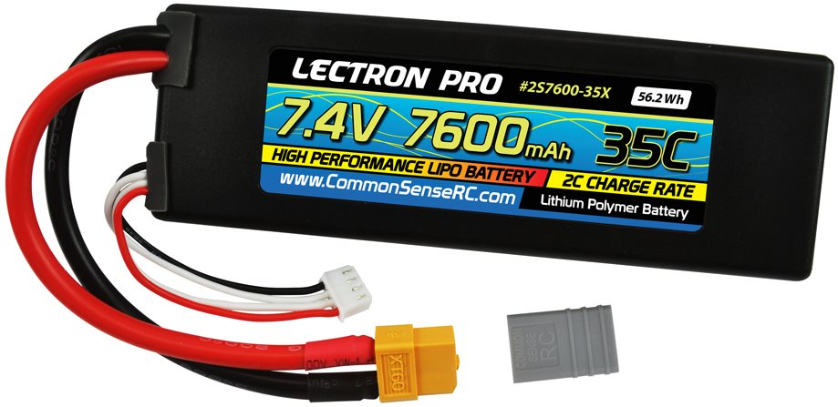 Common Sense RC Lectron Pro 7.4V 7600mAh 35C Lipo Battery with XT60 Connector +