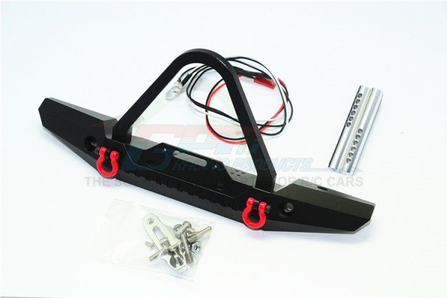 GPM Racing Aluminum Front Bumper With Led Lights For Crawlers (B) - Black