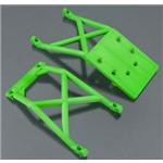 Traxxas Skid Plates, Fron & Rear-Green