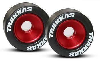 Traxxas Mntd Wheelie Bar Tires/Whls Red (2)