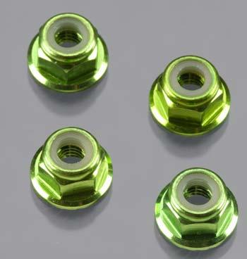 Traxxas Nuts, 4Mm Flanged Locking Serrated- Aluminum Green