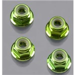 Nuts, 4Mm Flanged Locking Serrated- Aluminum Green