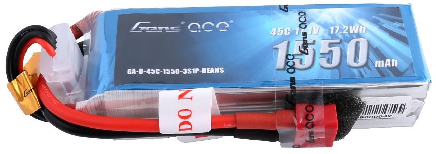 Gens Ace 1550mAh 11.1v 45C 3S1P lipo battery pack with Deans plug
