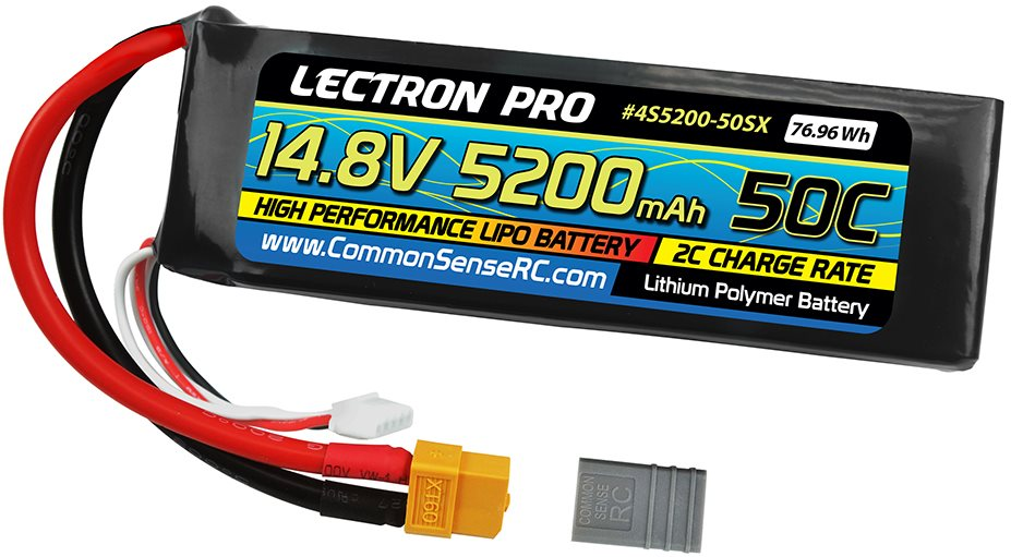 Common Sense RC Lectron Pro 14.8V 5200mAh 50C Lipo Battery Soft Pack with XT60 +