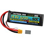 Lectron Pro 14.8V 5200mAh 50C Lipo Battery Soft Pack with XT60 +