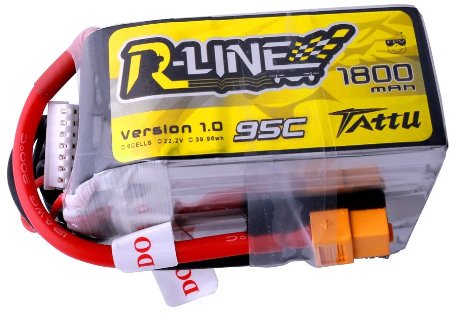 Gens Ace Tattu R-Line 1800mah 6S 95C FPV Lipo Battery with XT60 Plug